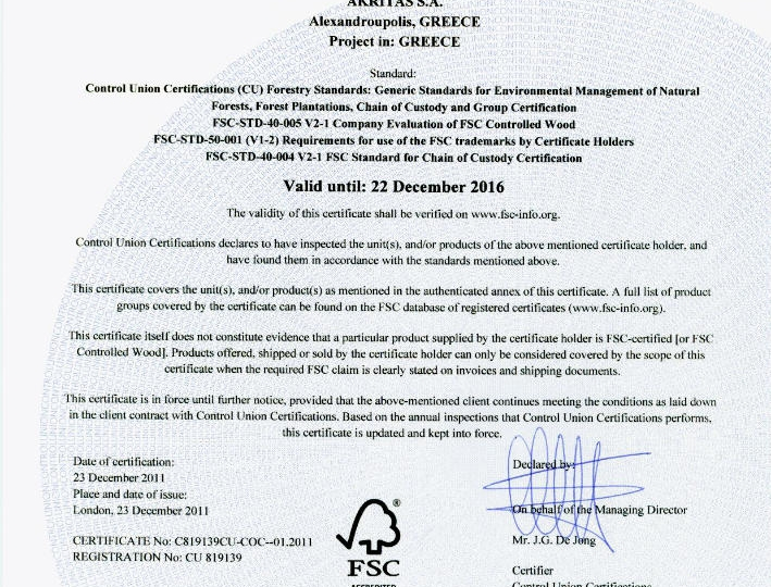 FSC Certificate of AKRITAS page 1